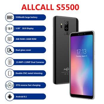 Перейти на Алиэкспресс и купить Allcall S5500 смартфон 5,99 дюйма 18:9 2 Гб ОЗУ 16 Гб ПЗУ MTK6580 четырехъядерный Android 8,1 13.0MP + 2MP 5500 мАч WIFI GPS 3G мобильный телефон