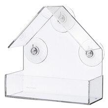 Акриловая прозрачная птичья оконная кормушка для просмотра кормушек для птиц поднос для скворечника на присоске крепление для дома Тип кормушки 15x6,1x15,2 cm