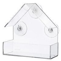 아크릴 투명한 새 피더 창보기 조류 피더 트레이 버드 하우스 흡입 컵 마운트 하우스 유형 피더 15x6.1x15.2cm|새 모이|   -