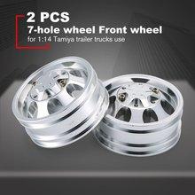 цена на 2PCS Aluminum Front Wheel 7 Spokes Metal Wheel Rim for 1/14 Rock Crawler For Tamiya 1:14 Tractor Truck Car