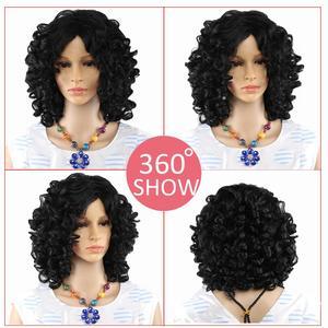 Image 4 - 아미르 헤어 짧은 가발 합성 변태 곱슬 머리 가발 중간 레드 블랙과 금발 색상 여성용 가발 내열성