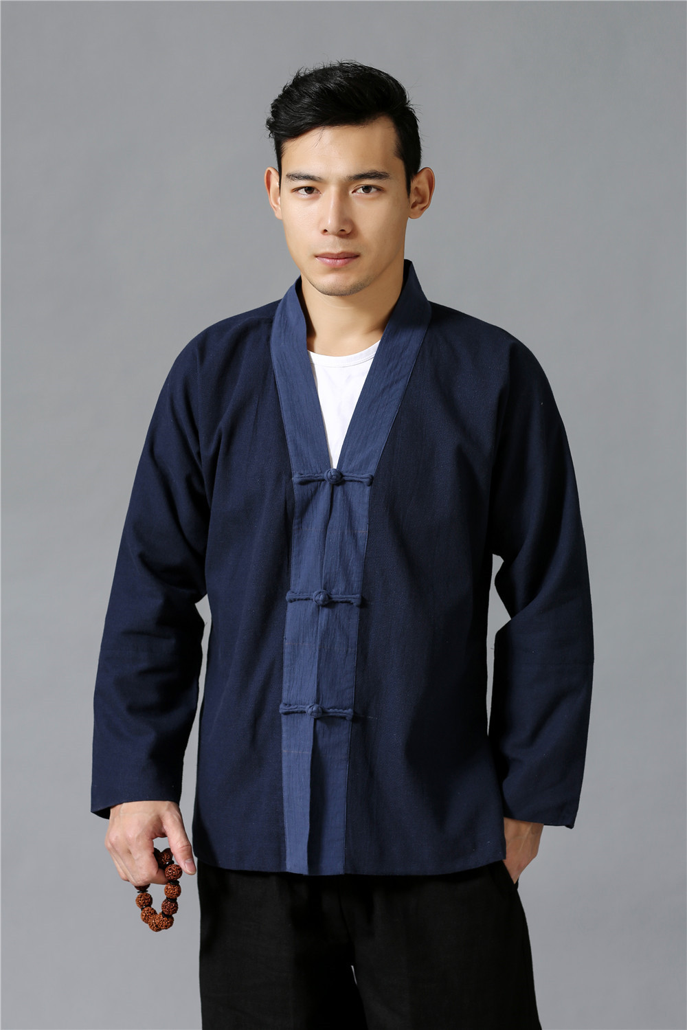 2019 Spring New Products Hand-Woven Linen He Fu Kuan Tops Chinese-style Frog Mixed Colors Cotton Linen Men'S Wear