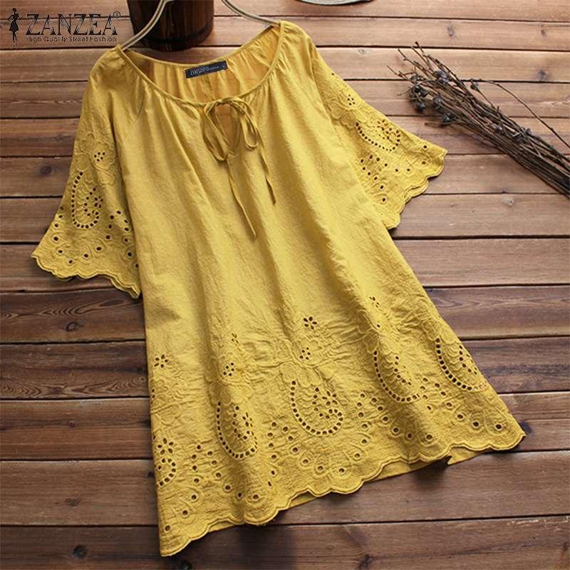 Fashion Embroidery Tops Women's Summer Blouse 2019 ZANZEA Elegant Causal Hollow Floral Blusas Female Half Sleeve Shirt Tunic 5XL