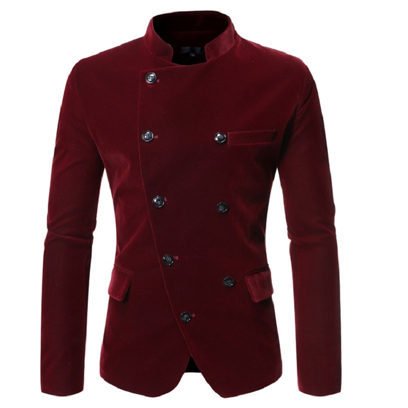 New Men's Casual Inclined Front Double Breasted Collar Suit