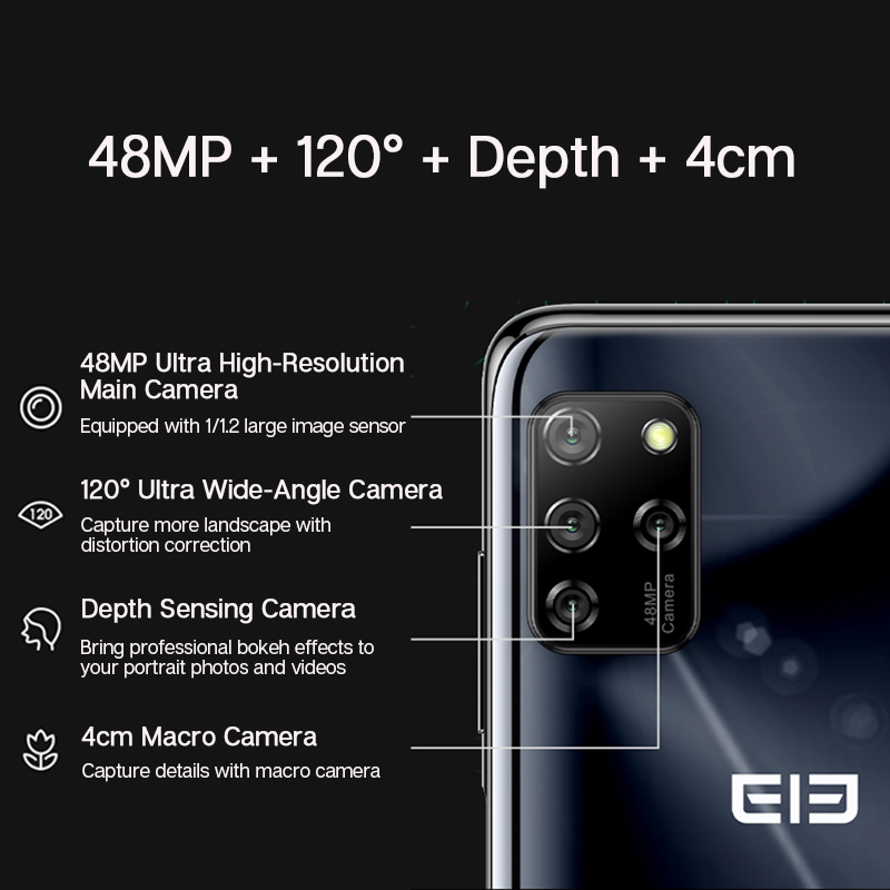 "ELEPHONE E10 Octa Core Smartphone 4GB 64GB 6.5"" Screen Quad Camera 48MP Main Cam Android 10 NFC Side Fingerprint Mobile Phone 3"
