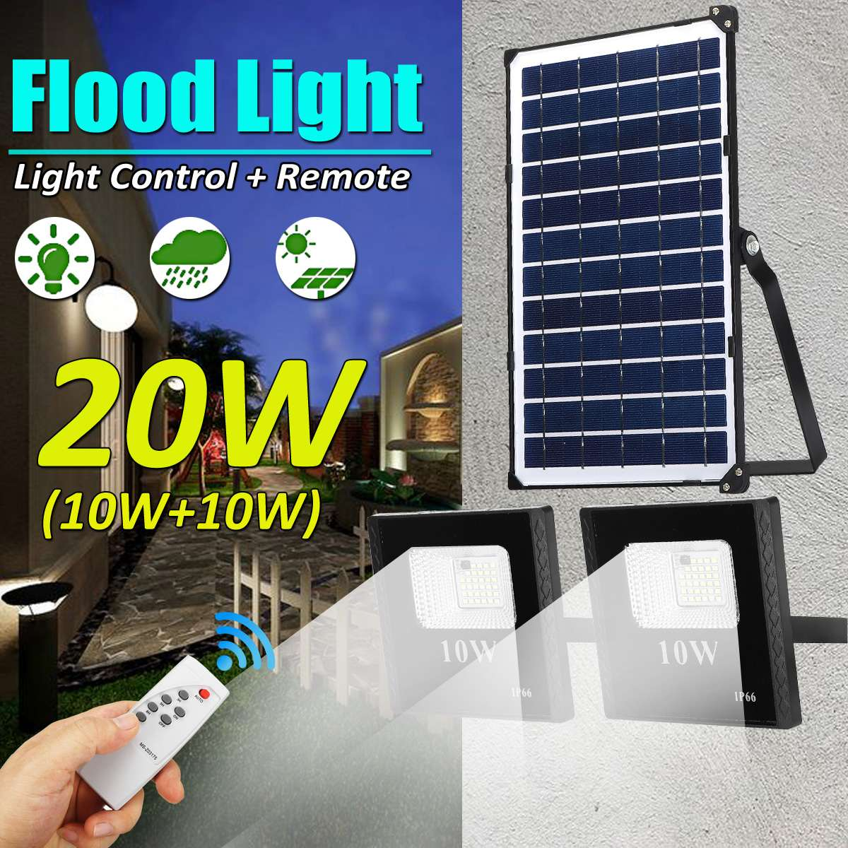 Solar Floodlight 32/64 Led Portable Spotlight floodlight Outdoor Street Garden Light Waterproof Wall Lamp with Remote Control|Floodlights| |  - title=