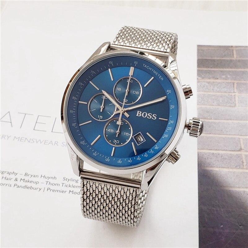2019 Boss Relógio de Luxo Mens relógios de quartzo cronômetro todas as funções todos os ponteiros de trabalho chefe homem cronógrafo à prova d' água