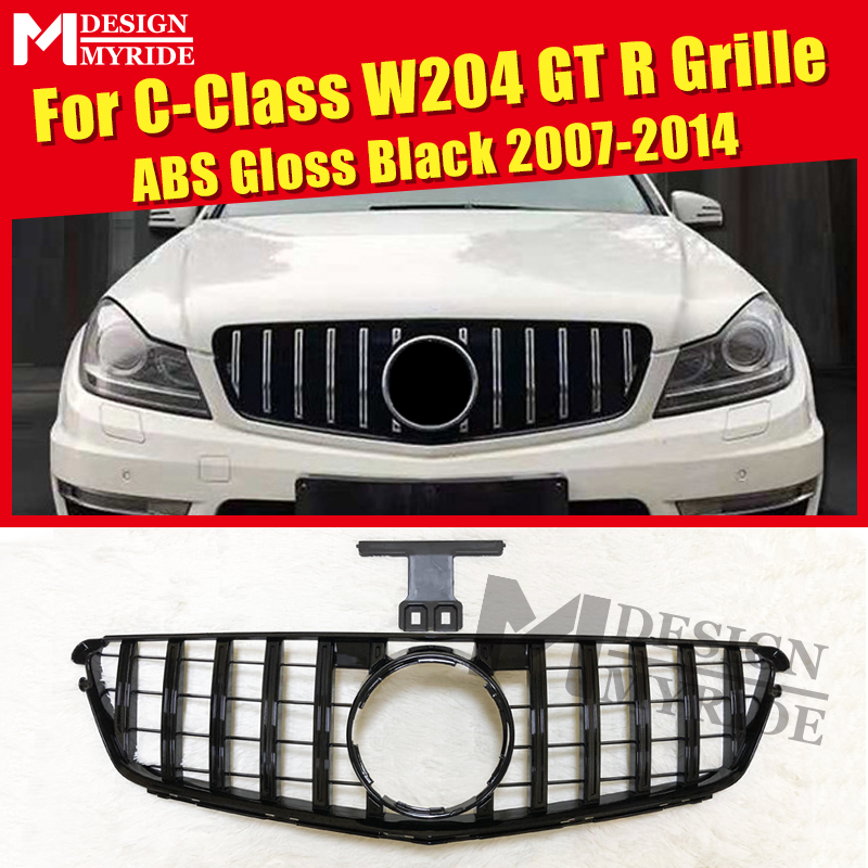 For Mercedes C Class <font><b>W204</b></font> Panamericana Grille <font><b>Grills</b></font> GTS Sports Look C250d C200 C180 ABS Gloss Black Direct Replacement 2007-14 image
