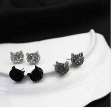 Timlee e181 simples bonito lantejoulas gato geometria studs brincos moda jóias por atacado