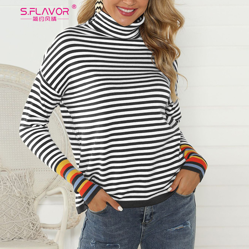 S.FLAVOR Autumn Winter Turtleneck Striped Basic Sweater Women Knit Slim Jumper Female Long Sleeve Casual Pullovers Streetwear