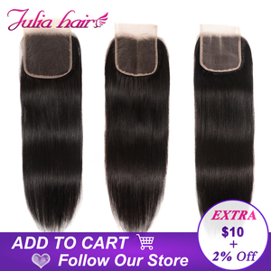 Image 2 - Brazilian Straight Lace Closure Free Part 150% Density Julia Lace Closure Pre Plucked If Middle/Three Part Closure Contact US
