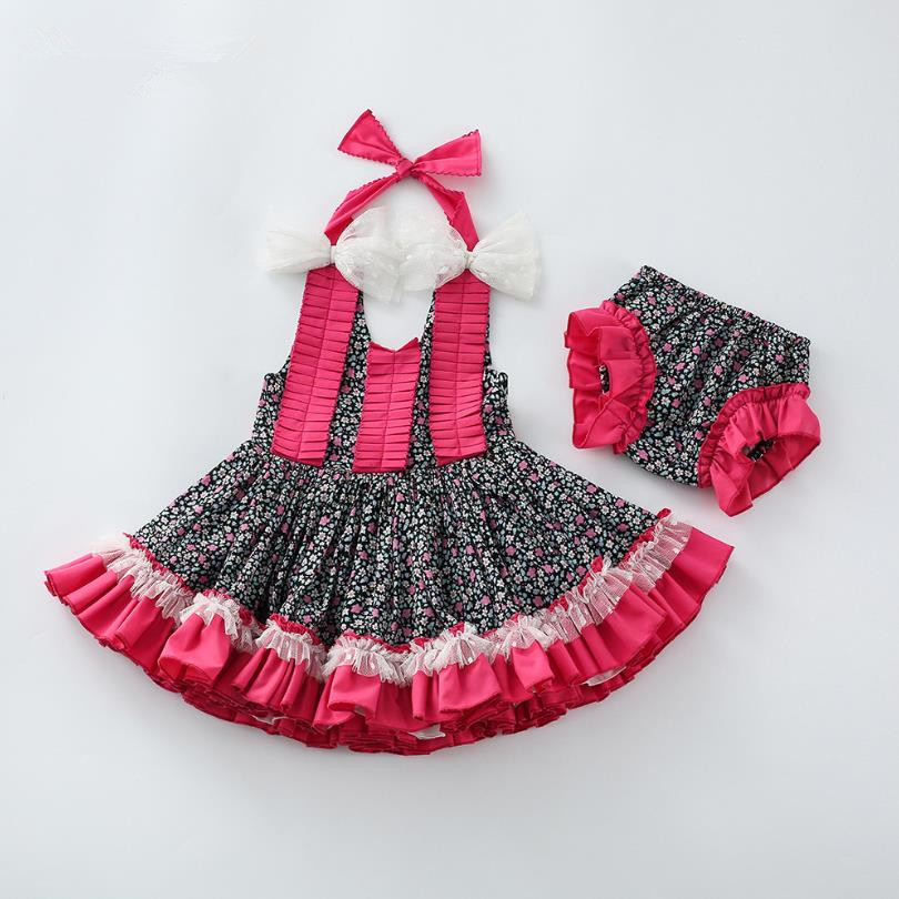 Baby Girls Clothes Summer New Spanish Girls Dress sleeveless print backless Dress Turkey Vintage Princess Dress For Girls Y3008