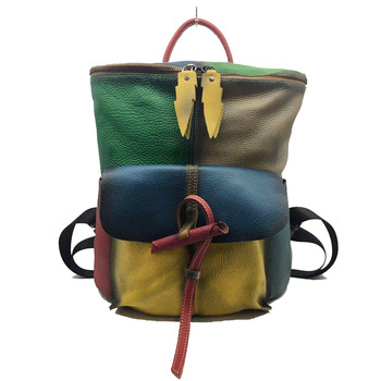 2020 New Style Hand-rub Color WOMEN'S Bag Backpack First Layer Leather Backpack Retro Leather Bag