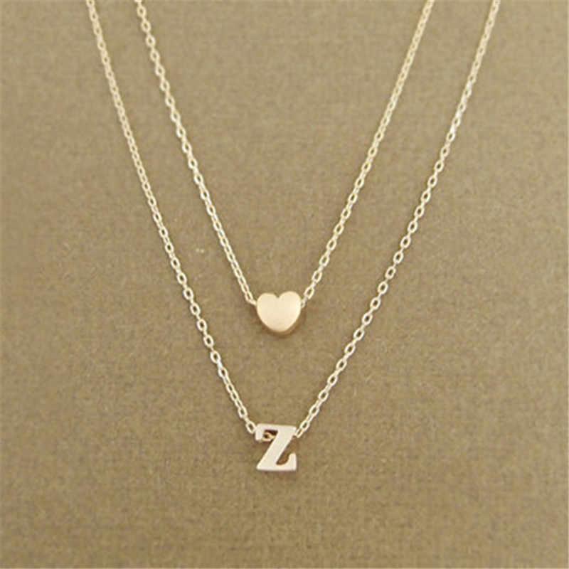 แฟชั่นหัวใจชื่อจดหมายเริ่มต้นสร้อยคอทองเงินสองชั้นสร้อยคอผู้หญิงเครื่องประดับของขวัญแฟน