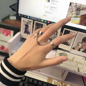 Vintage Silver Cross Chain Ring Adjustable Joint Ring Hip Hop Punk Finger Rings For Women Men Egirl Dating Party Bff Jewelry(China)