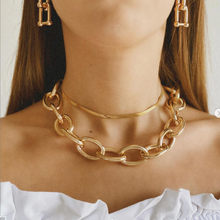 VAGZEB Punk Big Thick Chain Choker Necklace For Women Hip Hop Multilayer Snake Chain Link Necklaces Statement Jewelry Gift