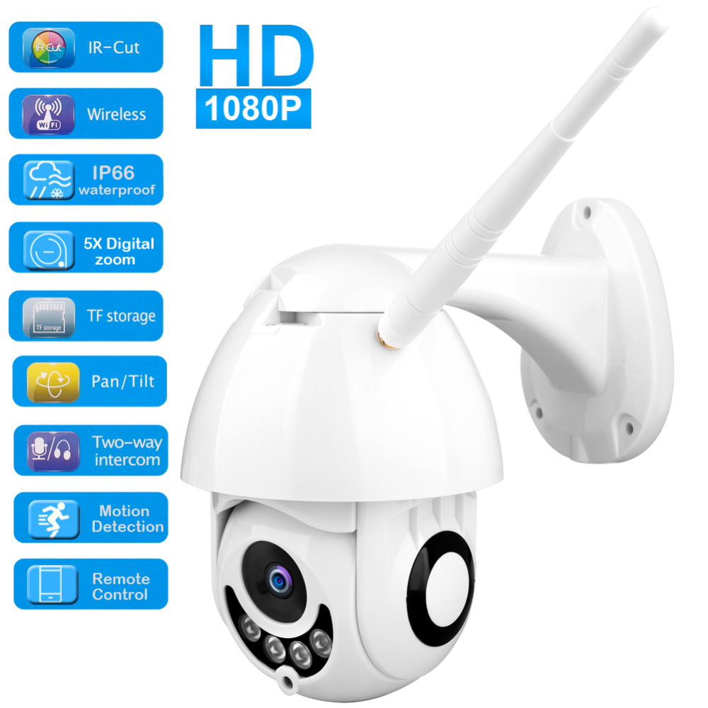 1080P IP Camera WiFi Wireless Auto Tracking PTZ Speed Camera Outdoor CCTV Security Surveillance Waterproof Camera Baby Monitor