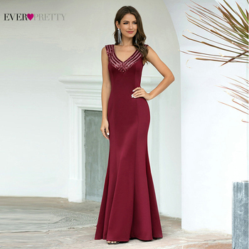 Robe Sexy Prom Dresses 2020 For Black Girls Ever Pretty Vestidos Elegantes Burgundy V Neck Sleeveless Sequin Mermaid Party Dress