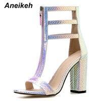 Aneikeh nouvelle mode argenté Bling gladiateur chaussures femme sandales Peep orteil talons hauts sandales été pompes chaussures de fête taille 35-42