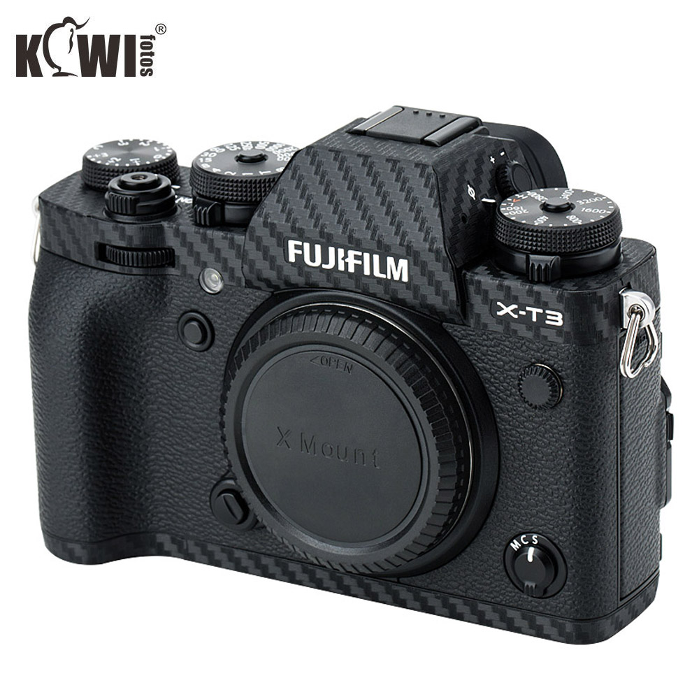 KIWIFOTOS KS-XT3CF Cameras Protection Camera Carbon Fiber Film Kit For Fujifilm X-T3 With Spare Film Wet Cleaning Wipe