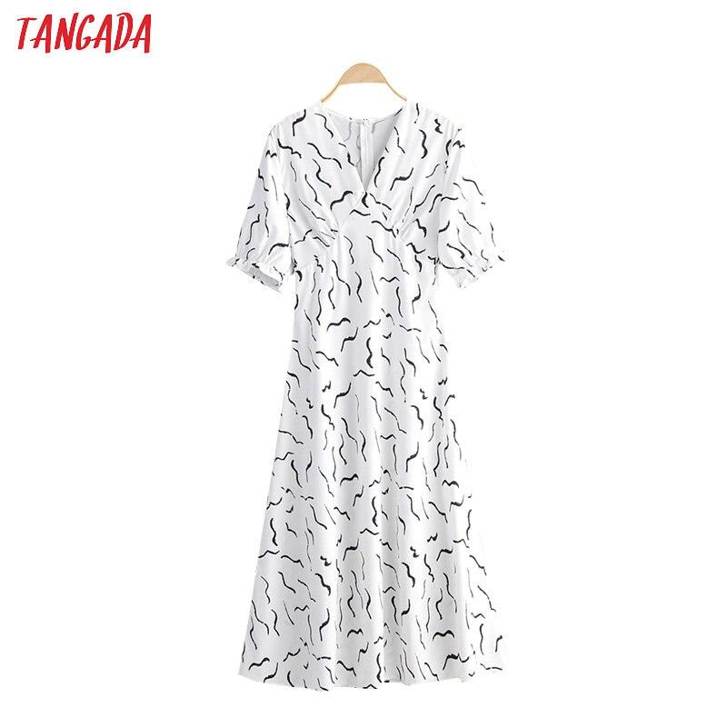 Tangada Fashion Women Stripe Print White Summer Dress V Neck Short Sleeve Ladies Zipper Chiffon Dress Vestidos 2F28