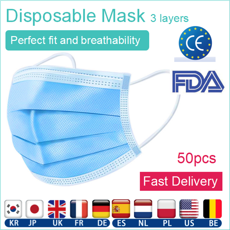 50PCS Anti-Dust Disposable Protective Mask 3 Layers Dustproof Facial Masks Maldehyde Prevent Bacteria Mask With Ce Fda