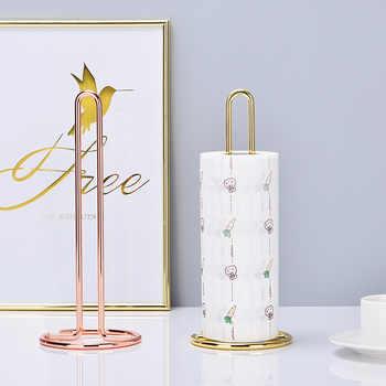 Nordic Style Iron Desktop Roll Paper Rack Simple Rose Gold Restaurant Living Room Toilet Roll Holder Storage Rack Home Decor