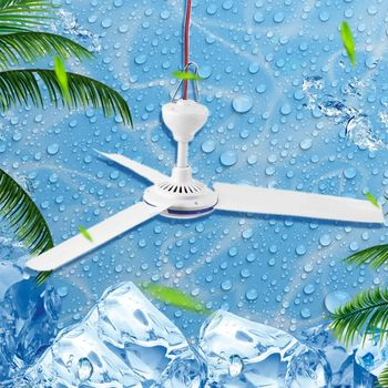 DC 12V Ceiling Fan Air Cooler Stepless Speed Fan for Bed Camping Outdoor Tent
