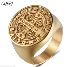 OQEPJ Vintage Big Round Cross Letter Rings Stainless Steel Gold Color Men Ring Simple High Polish Accesories Jewelry Hot Sale on sale high polished stainless steel round cross rings for men