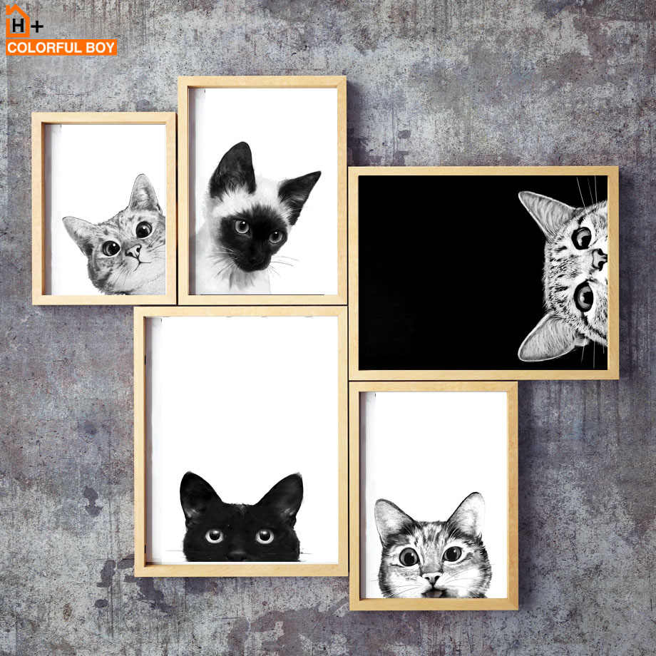 Funny Kitty Cat Black White Kids Nordic Posters And Prints Wall Art Canvas Painting Wall Pictures For Living Room Salon Decor