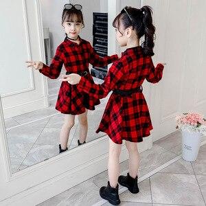 Image 4 - 2018 우아한 여자 캐주얼 긴 소매 격자 무늬 셔츠 복장 벨트 패션 틴 에이저 블라우스 드레스 4 5 6 7 8 9 10 11 12 13 년