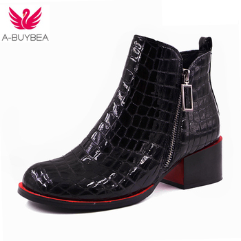 fashion Black Ankle Boots For Women Genuine Leather Short Boots Women Female Fashion Low Heel Hademade Ladies Booties 2017 New aiyuqi genuine leather female winter boots full cowhide waterproof wool lined fashion women booties female bare black boots