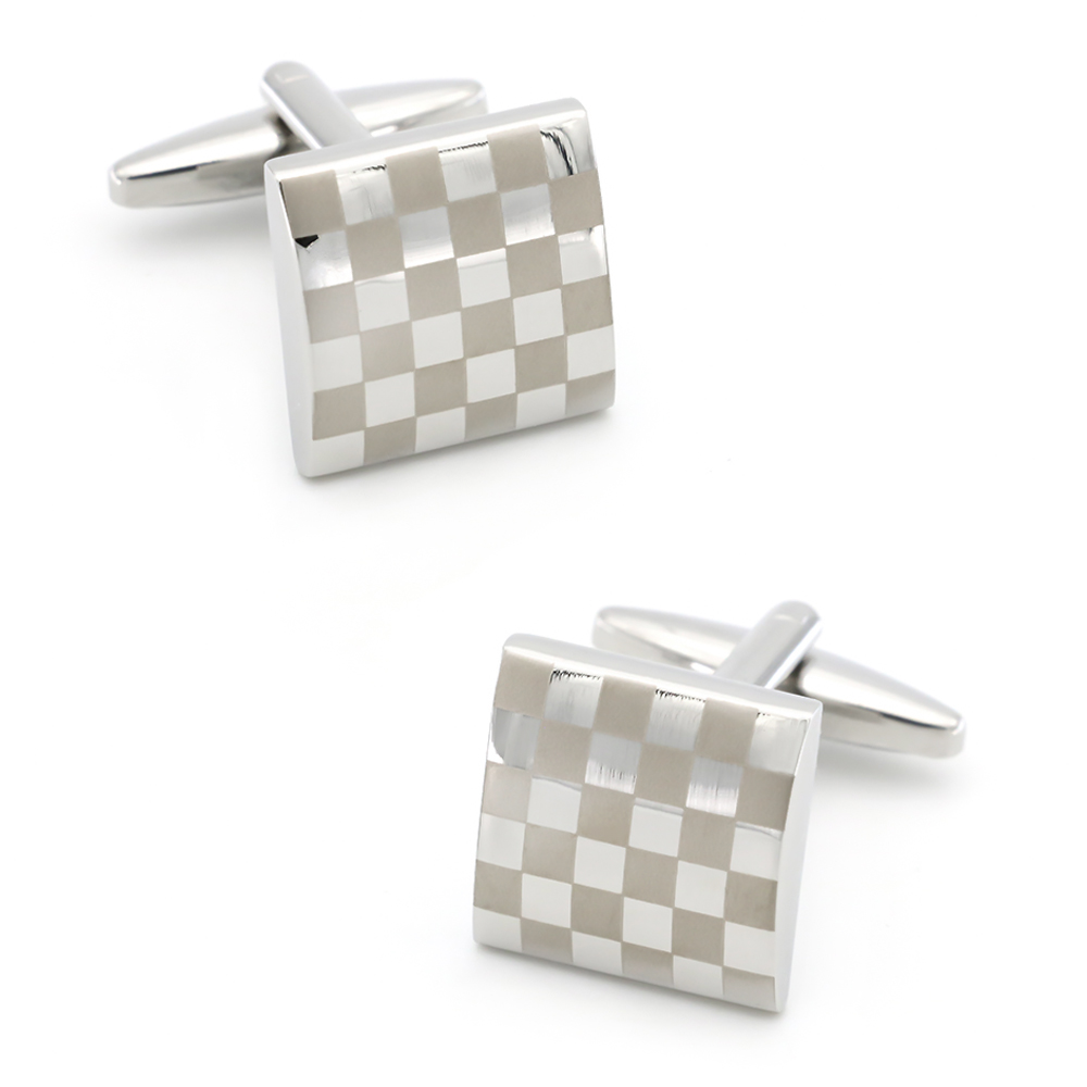 Classic Design Square Check Cufflinks Quality Brass Material Silver Color Cuff Links Wholesale&retail