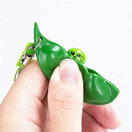 Keychain Bean Fidget Pea-Stress Improve Squeeze Edamame Squishy Focus-Toy Relief Key-Pendant img5