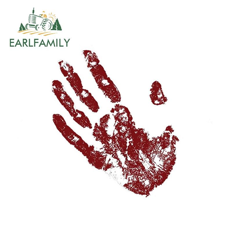 EARLFAMILY 13cm x 8.92cm Red Palm Car Glue Stickers Decal Window Vinyl Wrap Bumper Rear Windshield Oem Car Accessories