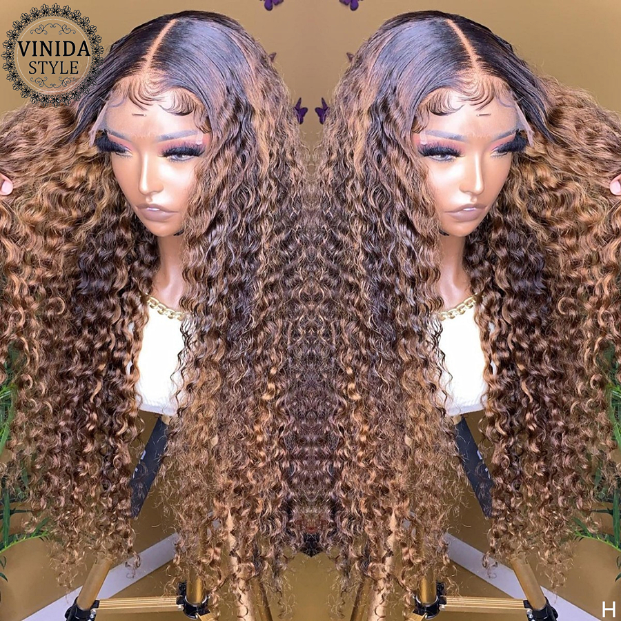 VINIDA STYLE Highlight Curly 150% Density Lace Front Human Hair Wigs Scalp Top Closure Wigs With Baby Hair Non-Remy