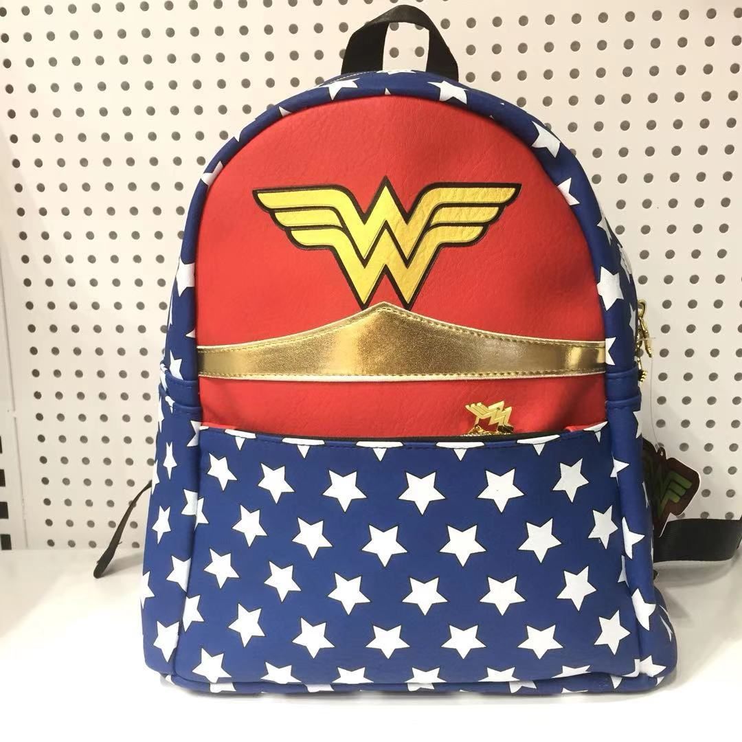Movie The Flash Cartoon Backpack Wonder Woman Cosplay Backpack Women Fashion Leather Pu Shoulders Bags