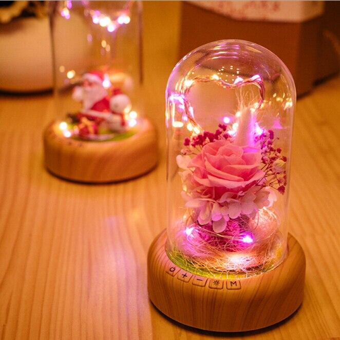 romantico rosa garrafa de vidro lampada com luz da corda recarregavel sem fio bluetooth alto falante