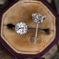 IOGOU реальные 0,5-1 карат D Цвет синтетический бриллиант, серьги со шпилькой, для женщин, 100% 925 стерлингового серебра Муассанит Свадебные украше...