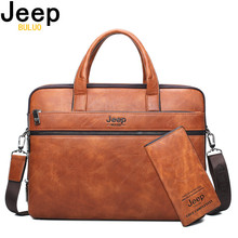 JEEP BULUO Brand Man's Business Briefcase Bag 2pcs/set Split Leather Shoulder Ba