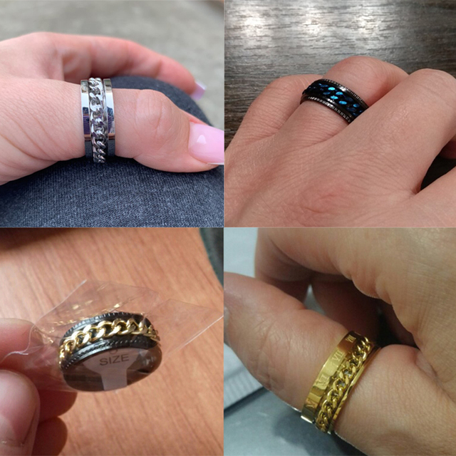 Letdiffery Cool Stainless Steel Rotatable Men Ring High Quality Spinner Chain Punk Women Jewelry for Party Gift 6