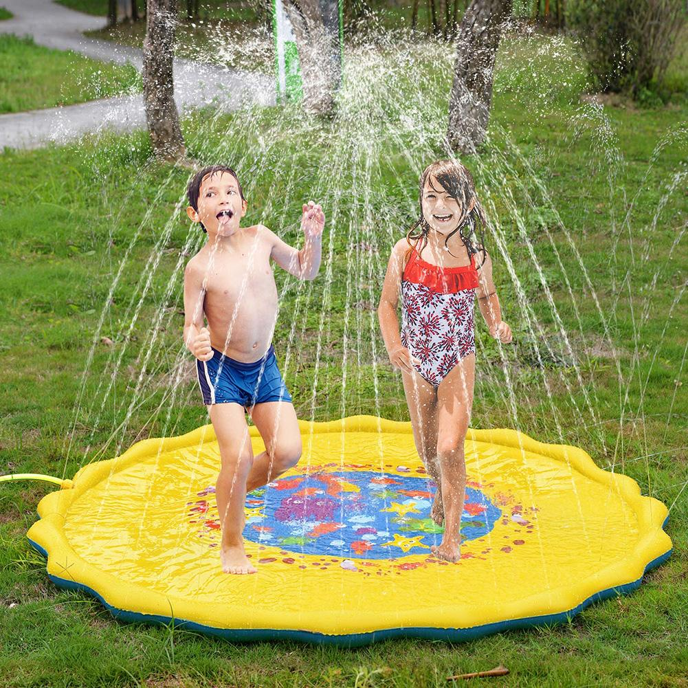 Outdoor Inflatable Kids Water Splash Play Mat Summer Garden Gaming Sprinklers