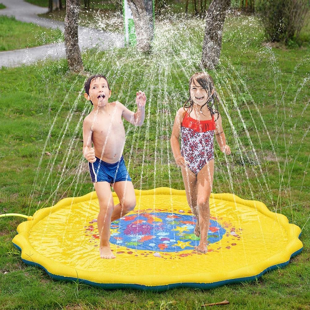 Outdoor Inflatable Kids Water Splash Play Mat Summer Garden Gaming Sprinklers