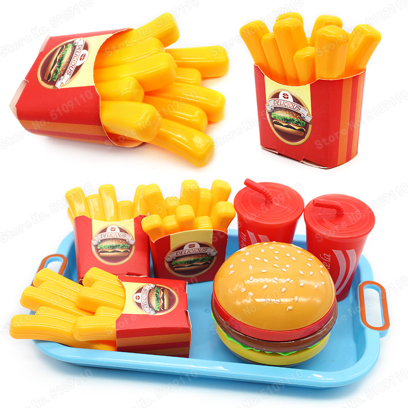 Mini fries Pretend Play Miniature Burger Educational Toys For Girl Kid Children Simulation Food Kitchen Toy Set Fast food snacks