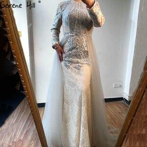 Image 4 - Serene Hill muzułmańskie kształtki na szyję luksusowe wysokiej klasy suknia wieczorowa 2020 szare długie rękawy formalna suknia wieczorowa z pociągiem CLA70305