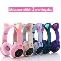 Auricular inalámbrico Oreja de Gato luz LED teléfonos móviles Auriculares auriculares de música estéreo chica hija Bluetooth 5,0 auriculares para las niñas