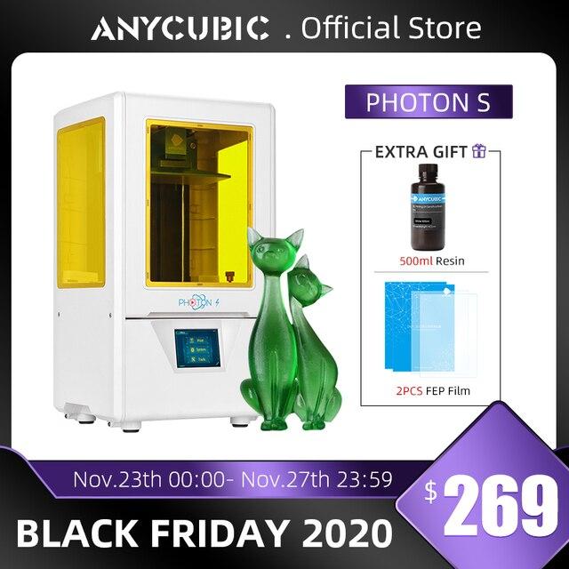 ANYCUBIC Photon S 3D Máy In Dual Trục Z Nhanh Lát Cắt 405nm Ma Trận UV Mô Đun SLA 3d Máy In Nhựa Photon S Nâng Cấp Impresora 3d
