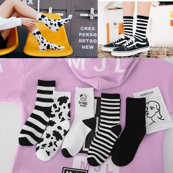 Japanese Ladies Tube Socks New Black and White Harajuku Striped Cute Cartoon Animal Womens Fashion Casual Trendy