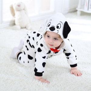 Image 4 - Umorden Baby Dalmatians Spotty Dog Costume Kigurumi Cartoon Animal Rompers Infant Toddler Jumpsuit Flannel Halloween Fancy Dress