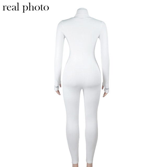Simenual Workout Active Wear Ribbed Rompers Womens Jumpsuit Sporty Long Sleeve Fitness Embroidery Letter Print Zipper Jumpsuits 6